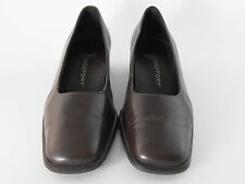 Rockport Womens Brown Leather Upper 9M Dress Casual Work Slip On Heels Shoes
