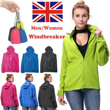 UK Mens Womens Hooded Coat Running Thin Jacket Outdoor Windbreaker Sports Hiking
