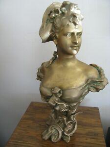 Antique Victorian Art Nouveau Woman Bow Bust Cast Metal Spelter Statue 10 1/2