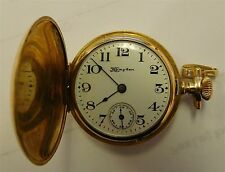 $ PRICE REDUCED ANTIQUE 1910 LADIES 14K GOLD HUNTING CASE POCKET WATCH CLEAN