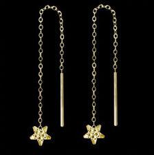 Sterne Ohrringe Durchzieher echt Gold 333 Stern Ohrschmuck Damen Kinder Schmuck.
