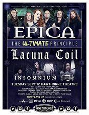 "EPICA ""THE ULTIMATE PRINCIPAL"" 2017 PORTLAND CONCERT TOUR POSTER-Symphonic Metal"