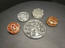 Lot Of 5 Vintage Clear and Colored Glass Flower Frogs Amber Carnival Glass