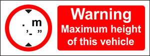 2 Vehicle Height / Width Safety Stickers / Decal Lorry / Van