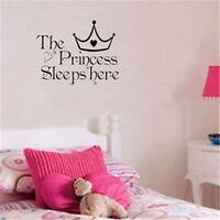 Princess Sleeps Crown Tiara Kids Girl Bedroom Wall Art Stickers Decal Vinyl Room