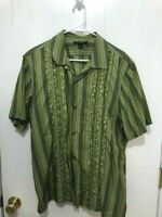 Banana Republic Short Sleeve Striped Button Up Embroidered Shirt Mens Size XL