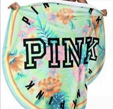 "Victoria's secret tropical PINK beach towel nwt round 55"" new floral rare"