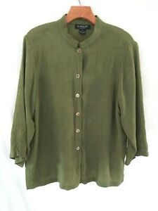 Womens Citron Green Silk Embossed Top w Mandarin Collar Size L