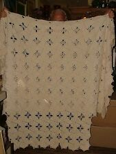 Antique 4 Poster Cut Hand Crochet Twin Single Coverlet Bed Spread Light Ecru