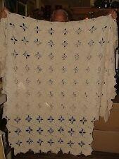 Antique 4 Poster Cut Hand Crochet Twin Single Coverlet Bed Spread Light Ecru