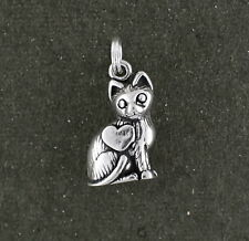 Cat Charm Sterling Silver 3d Pendant Heart Split Ring Attachment