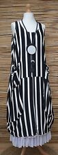 LAGENLOOK BEAUTIFUL STRIPED 2 POCKETS LONG DRESS*BLACK/WHITE*L-XL BUST UP TO 48""