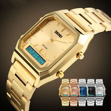SKmei Men Waterproof LED Digital Dress Watch Chronograph Quartz Date Gold Silver