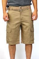 Men's Belt Cargo Shorts Khaki Black Urban Solo 28 30 32 34 36 38 40 42 44