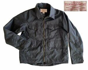 CC FILSON Co Oil Cloth Cotton Canvas Jacket litewgt Black Size Men's Medium USA