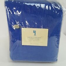 Pottery Barn Kids Duvet Cover Full Queen Blue Corduroy PBK Turtle Embroidery NEW