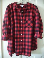 Must Have! Old Navy Red & Black Check Plaid Cotton Flannel Shirt XXL 1X 2X 3X 4X