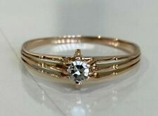 9ct solid gold & Diamond solitaire ring 1.30g size N 1/2 -  6 3/4