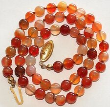 Silver Gold Pl Clasp Knotted Necklace Vintage Natural 6.5mm Carnelian Stone Bead