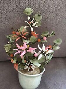 Vintage Chinese Jade Glass Flowering Bonsai Tree Oriental Asian Celadon Pot