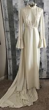 VTG 1960s Wedding Bridal Gown Dress Beaded Bell Sleeve Boho Edwardian Train XS