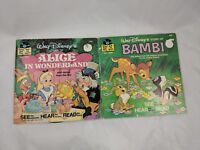 Walt Disney Book Record Alice in Wonderland & Bambi Lot 33 1/3 rpm