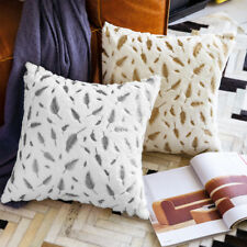 Soft Throw Pillow Case Fur with Printing Leaves Couch Bed Square Cushion Covers