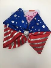 JoJo Siwa Signature Red Silver & Blue 4th Of July Stars & Stripes Hair Bow NWT