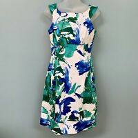Calvin Klein Womens Dress Sleeveless Fit & Flare Floral Watercolor Size 4