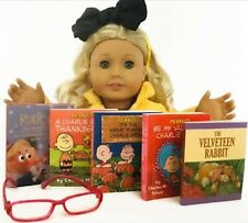 """Holiday Mini Books & Eyeglasses for American Girl Doll 18"""" Accessories Fit Set"""