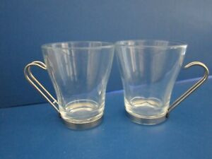 2 Pieces Bormioli Rocco Italy Oslo coffee cappuccino cups glasses metal handles