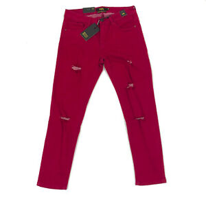 NWT Lucky and Blessed Distressed Ripped Cranberry Mid-Rise Ankle Skinny Jeans