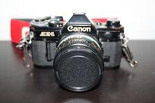 RARE Black Canon AE-1 Film Camera Great Condition w/ 50 mm Lens & Vintage Strap