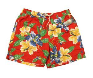 """Polo Ralph Lauren Men's Red Floral Print 5.5"""" Traveler Swim Trunks"""
