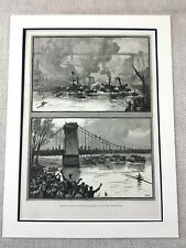 1882 Rowing Competition Sculling River Crew Newcastle Original Antique Print