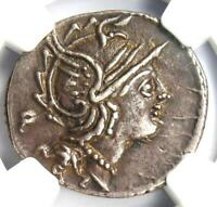 Roman Republic M. Servilius C.f. AR Denarius Roma, Horses Coin 100 BC - NGC XF