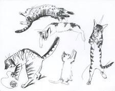 CAT CATS TABBY PLAYS YARN KITTEN PRIMITIVE NAIVE FOLK ART BLANK NOTE CARD