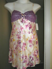 New Satin Ivory Nightgown Gown Large Sexy Purple Lace Bust NWT