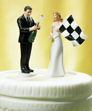 Checkered Flag Funny Couple Wedding Cake Topper