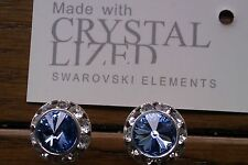 Genuine Swarovski Elements Light Sapphire Crystal Stud Earrings 13mm  + Gift Bag