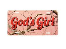 GOD'S GIRL Pink Realtree Camo License Plate Auto Tag Christian gift