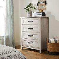 Modern Farmhouse 4 Drawer Dresser Chest Vintage Rustic Gray / White Antique Look