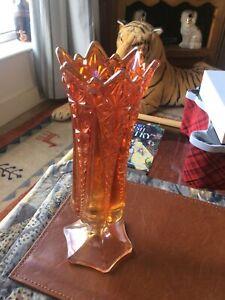 "Art Deco Carnival Lustre Glass Vase 9&1/2"" Tall Marigold Star Pattern"