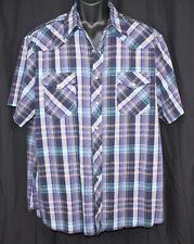 Vtg Wrangler Western Shirts Rockabilly Cowboy Checked Plaid Pearl Snaps Xl