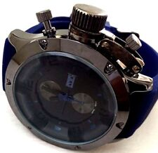Men's Sports Watch Mark Naimer MN2089 Blue Silicone Band Gun Case Black Dial