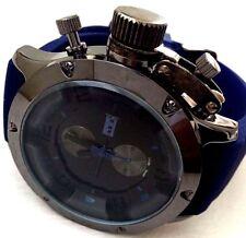 Men's Sports Watch Mark Naimer MN2089 Blue Silicone Band Gun Case Black Dial