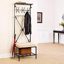 Metal Entryway Hall Tree Locker Storage Black Coat/Hat Rack Stand Bench Seat