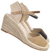 Ana1 Espadrille Platform Wedge Heel Sandal - Women Backless Ankle Strap Cap Toe