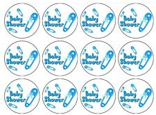 24 x Baby shower boy Edible Image Cupcake Toppers Pre-Cut