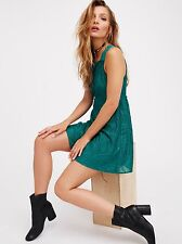 NWT Free People Placed Lace Fit Flare Mini Slip Dress Peacock Green S Rare $148